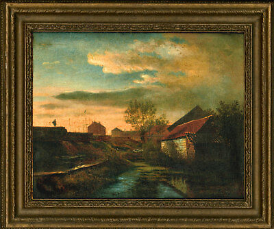 Framed Early 20th Century Oil - Dock Landscape with a Stream