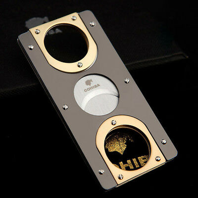 COHIBA Double Blades Stainless Steel Gold Plated Cigar Cutter Pocket Gadgets.