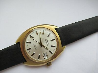 Vintage Swiss Montine 25 Jewel Automatic Incabloc Gold Plated Date New Strap Vgc