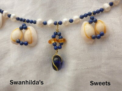 Larp Viking Handcrafted Necklace Wave Bead, Pearl, Cowrie, Lapis  Swsw