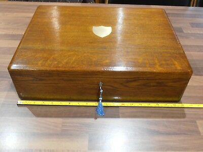 Large Antique Oak Collectors Box with lift out tray , lock & key .Walker & Hall