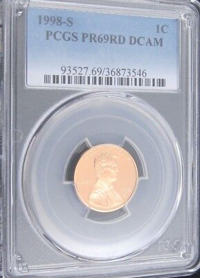 1998 S Proof Lincoln Memorial Cent - PCGS PR 69 RD DCAM Red Deep Cameo (3546)