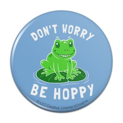Dont Worry Be Hoppy Frog Funny Humor Satin Chrome Plated Metal Money Clip