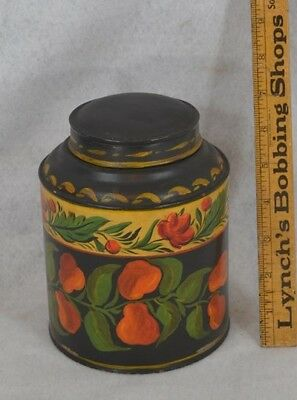 toleware painted tole tea tin early 19th c antique original 1800 vg