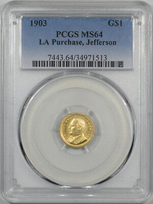 1903 $1 La Purchase, Jefferson Gold Commemorative Pcgs Ms-64