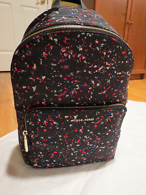 dc9a72a91444c1 Michael Kors Wythe LG Black Multi Large Nylon Backpack Confetti $198 Auth.  NWT