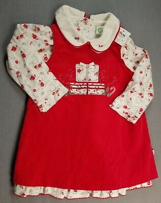 0591ff09d3a5c New Little Me 18 Month Baby Girl 2Pc Red Flower Christmas Corduroy Jumper  Dress