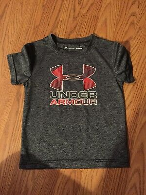 Under Armour Toddler Boys Heat Gear Logo Short Sleeve Top ~  Size 3T Grey