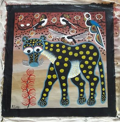 African Outsider Art Tinga Tinga Painting of Leopard and Birds Signed Pilimo