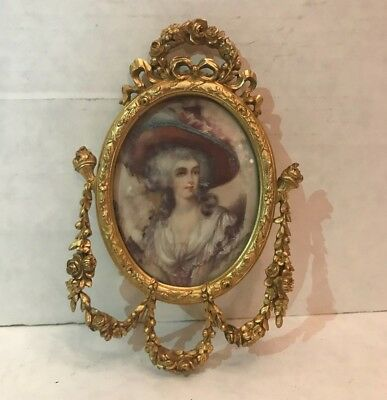 Antique French 19th Century Gilt Bronze Frame with Painting