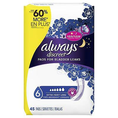 Always Discreet Pads Level 6 Ultimate Overnight Long 45 Count Torn Package B009