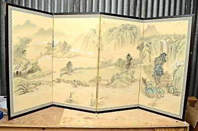 Vintage Japanese Chinese 4 Panel Folding Screen Byobu Painted 69x35 Signed asian