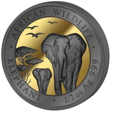 2015 SOMALIA Elephant 1/2 oz. SILVER - Gold & Ruthenium GILT Coin ** RARE ** !!!