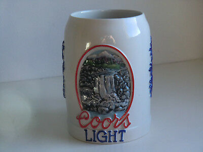 Rare numbered COORS LIGHT hand painted beer stein w/display case