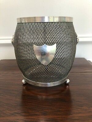 Antique Vintage Silver Planter Bucket Barrel Holder Shield Lion Heads Ball Feet