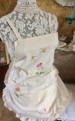 Vintage Apron Ivory Fabric Embroidered Butterflies-Flowers, Ruffle Trim, Pockets