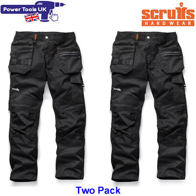 Scruffs Two Pack Trade Flex Slim Fit Work Trousers Black Various Sizes Unisex