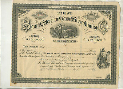 Unused First South Extension Horn Silver Mining Co Illinois Stock Certificate