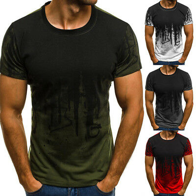 Men Slim Fit O-Neck Short Sleeve Muscle Tee Fitness T-shirt Casual Tops-Blouse/