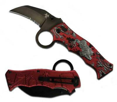 Zm 017002-2 4'' Pocket Knife Zombie Art Handle Spring Assisted Red/Silver Metal