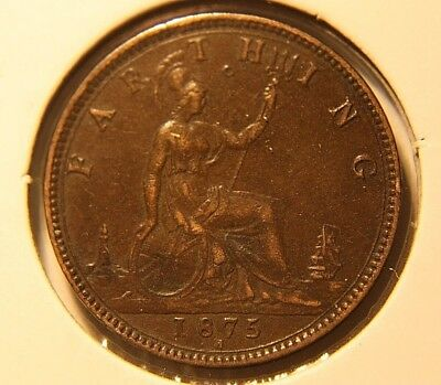 1875-H  Farthing NICE XF+ Condition Great Britain