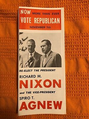 1972 Vintage Re-Elect Nixon Agnew Presidential Campaign Brochure Paper Pamphlet