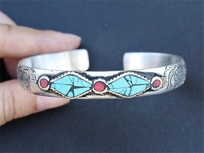 Long Thick Tibetan Turquoise Red Coral Carved 8 Auspicious Symbol Cuff Bracelet