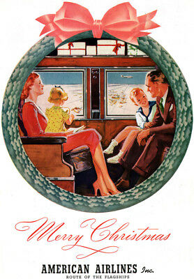 American Airlines Merry Christmas AIR TRAVEL Route of the Flagship 1939 Print Ad
