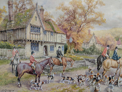 H. Murray Fine British Fox Hunt Watercolor Painting 1 Of Four Being Offered #1