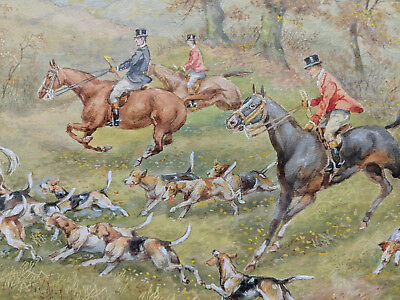 H. Murray Fine British Fox Hunt Watercolor Painting 1 Of Four Being Offered #2