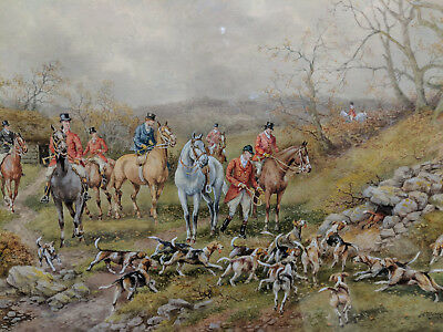 H. Murray Fine British Fox Hunt Watercolor Painting 1 Of Four Being Offered #3