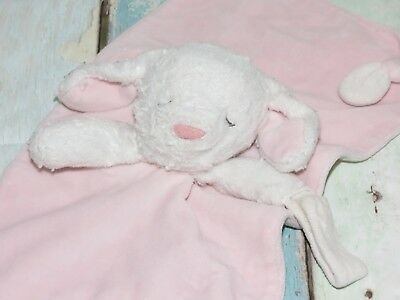 Carters White Bunny Pink Knotted Corner Pacifier Security Blanket Baby Lovey
