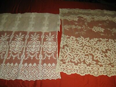 Two Antique Lace Bobbin & Tape or Tambour Net Lace Curtain Panels