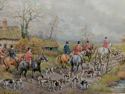 H. Murray Fine British Fox Hunt Watercolor Painting 1 Of Four Being Offered #4