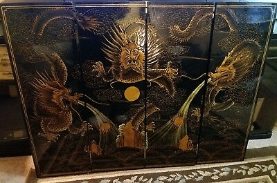 Vintage Dragon Asian Chinese Black Lacquer Wood Gold Paint Wall Art 4ft X 3ft