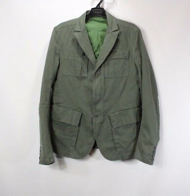 Diesel Mens Large Spell Out Full Zip Button Military Field Jacket Dark Green