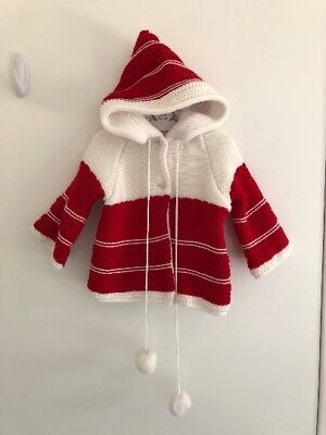 Vintage 1970s toddler girl or boy red and white knit hoodie cardigan