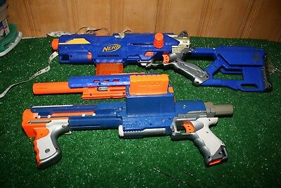 Lot 2 Nerf Guns Raider CS-35 Long Strike CS-6 w/ long barrel