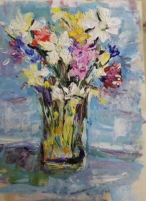 Original Art Painting on canvas hand painted acrylic  flowers on a vase new