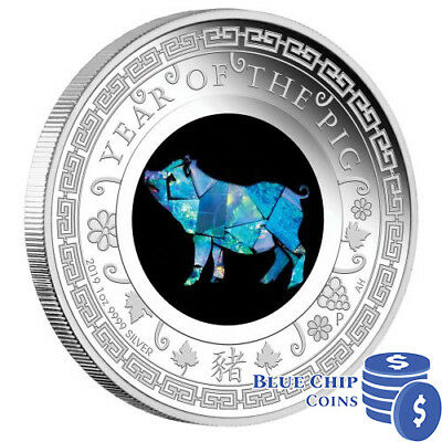 2019 $1 Australian Opal Lunar Series Year of the Pig 1oz Silver Proof Coin
