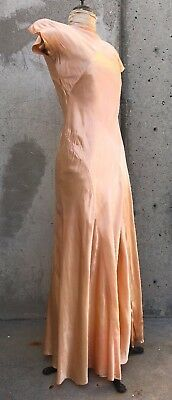Antique 1930s Pink Silk Satin Full Length Dress Low Back Bias Cut Ballet Vintage