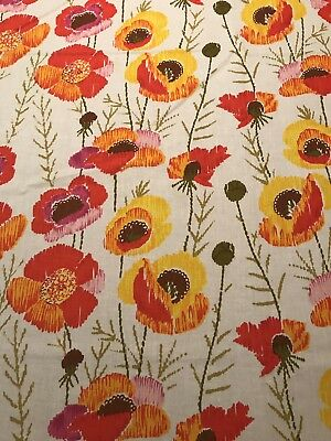 Poppies Vintage Floral Sheet Tablecloth Fabric Poppy Flowers Vintage Red Orange