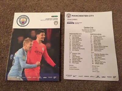 Manchester City V Burton Albion Carabao Cup Semi-Final 2018-19 With Teamsheet