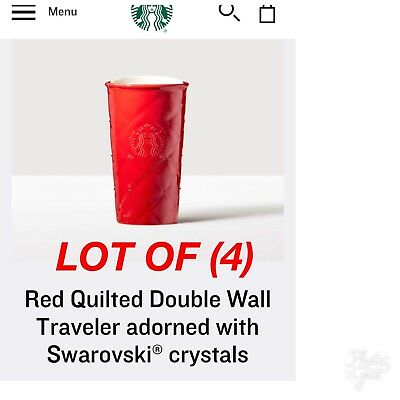 New (4) Starbucks Red Quilted Double Wall Travelers W/ Swarovski® Crystals!!