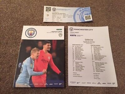 Manchester City V Burton Albion Carabao Cup 2018-19 With Teamsheet & Ticket