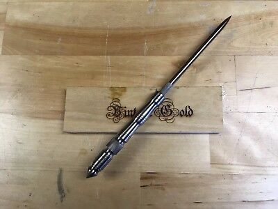 Vintage Gold Biker Slim Leather Ice Pick Canning Awl Tool Custom Titanium Handle