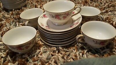 Kyoto Fine China cups Set of 6 Rose Garland 8047 Cups and 8 saucers Japan MINT!