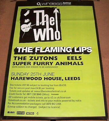 The Who Flaming Lips Zutons Eels Furry Animals Festival Poster O2 June 25/2006