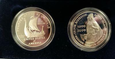 Yr.2000 Leif Ericson US and Icelandic 2 coin Proof SILVER $1 Set coa/boxes L3367