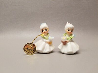 Vintage Napco miniature figurine Flower girl of the month pair w/ labels Sept